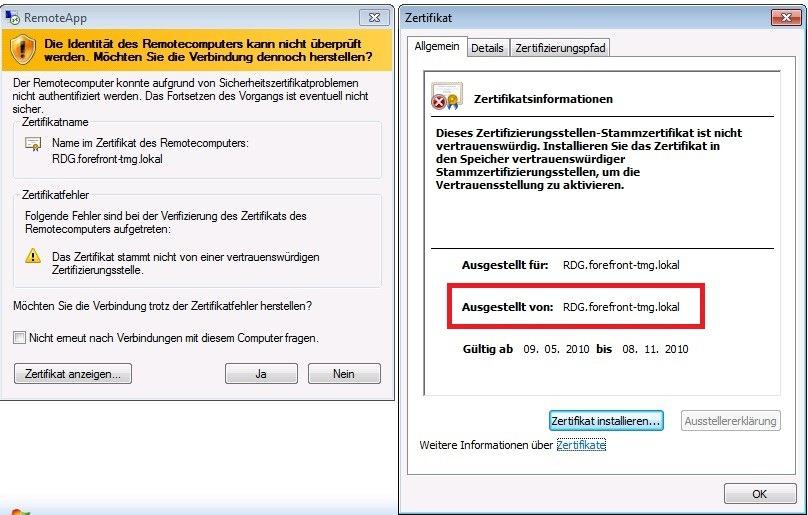 Certificate error with published remote desktops